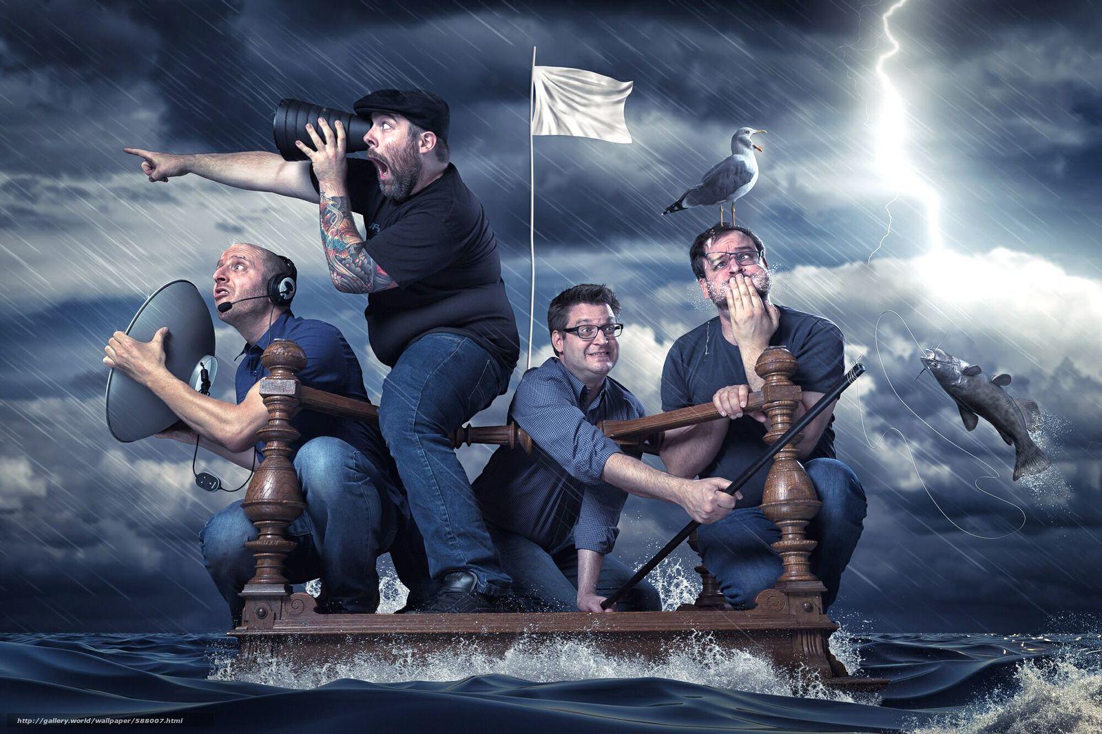 下载壁纸 风暴,  筏,  男人 免费为您的桌面分辨率的壁纸 2000x1333 — 图片 №588007