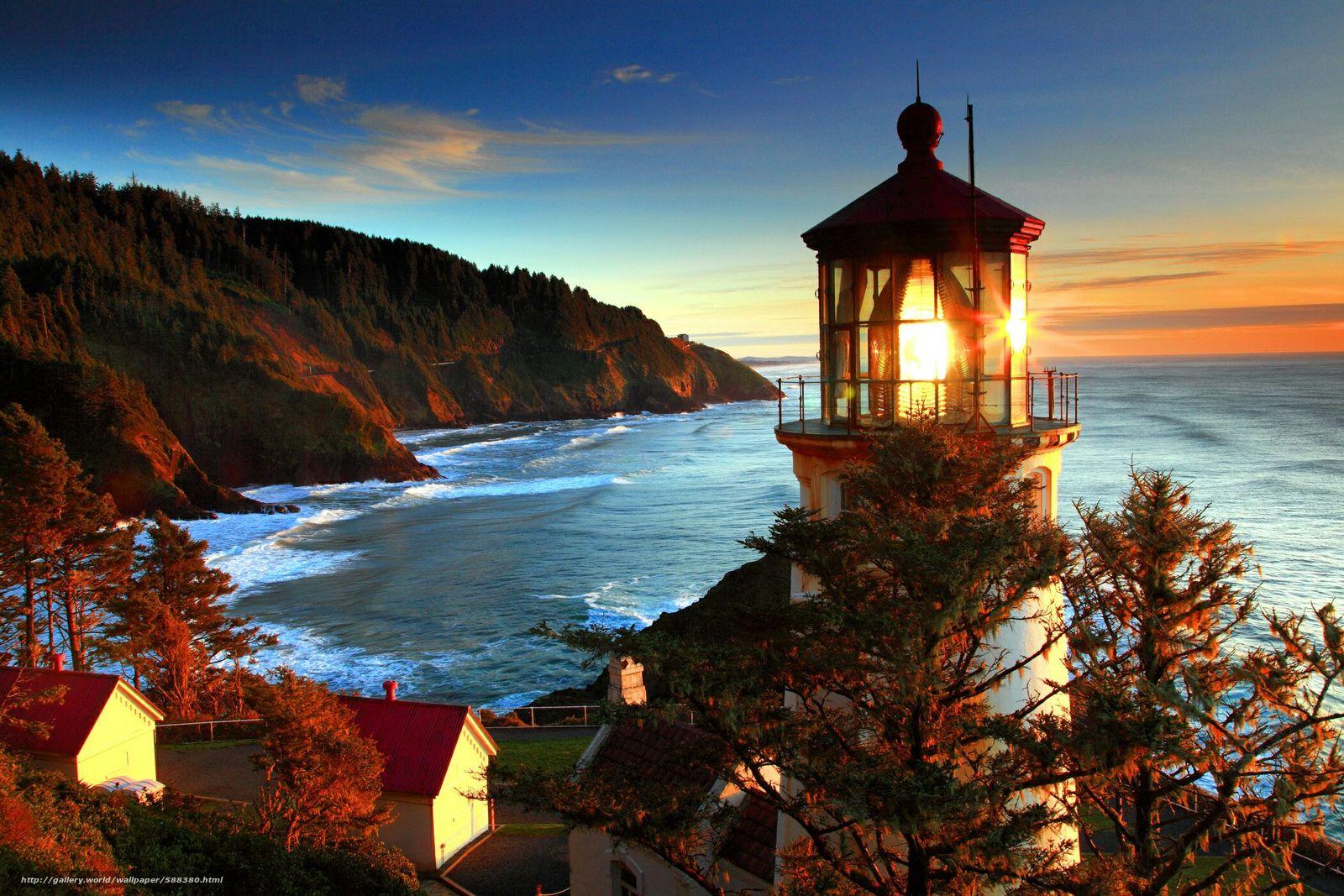 Скачать обои побережье,  море,  природа,  маяк бесплатно для рабочего стола в разрешении 2100x1400 — картинка №588380