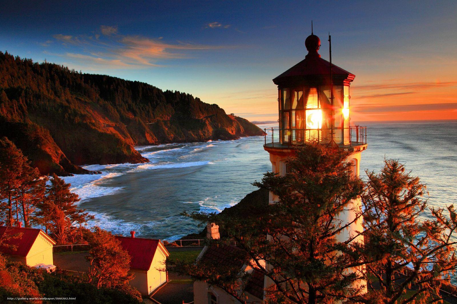 Скачать обои побережье,  море,  природа,  маяк бесплатно для рабочего стола в разрешении 2100x1400 — картинка №588382