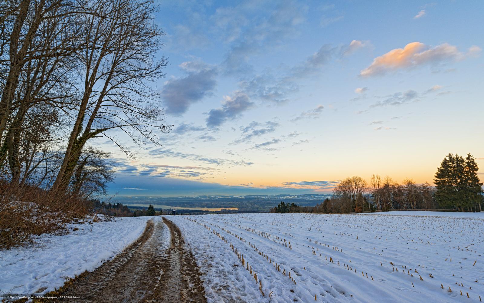 Scaricare gli sfondi campo inverno alberi tramonto for Immagini inverno sfondi