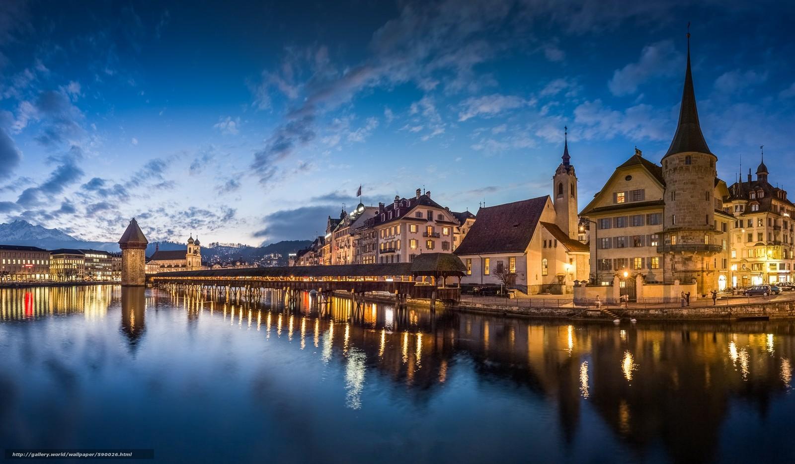 Descargar gratis Lucerna,  Suiza,  Puente de la Capilla Fondos de escritorio en la resolucin 2048x1196 — imagen №590026