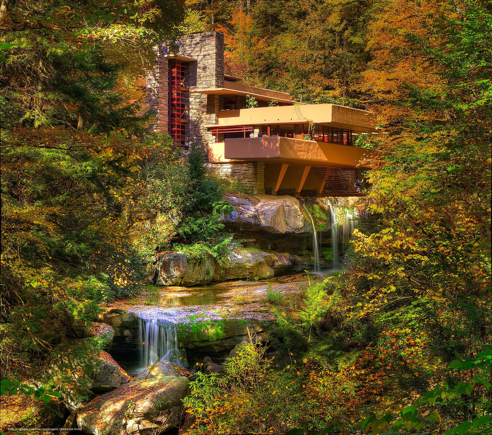 Download wallpaper fallingwater pennsylvania autumn for House built on waterfall