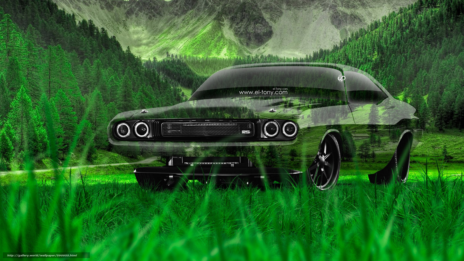 Download wallpaper Tony Kokhan,  dodge,  Challenger,  RS free desktop wallpaper in the resolution 1920x1080 — picture №590955