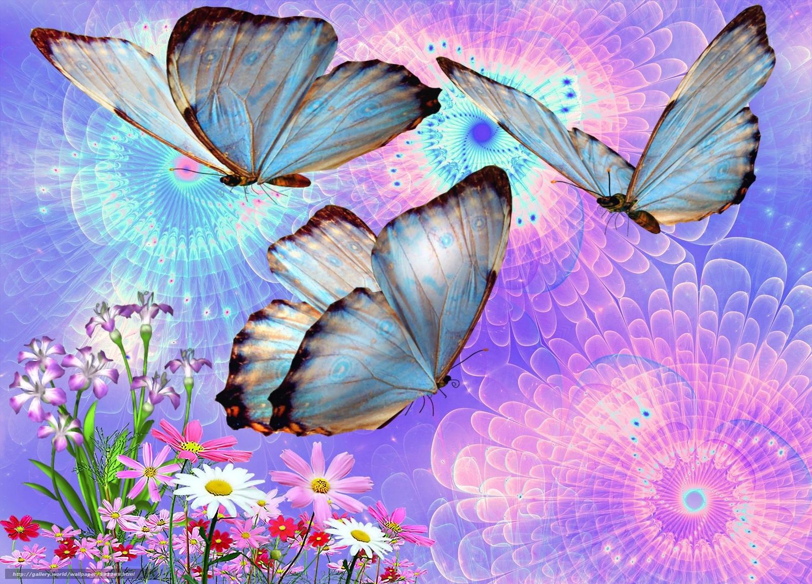 Imagenes Fondo De Escritorio 3d: Descargar Gratis Mariposas, Flores, 3d, Arte Fondos De