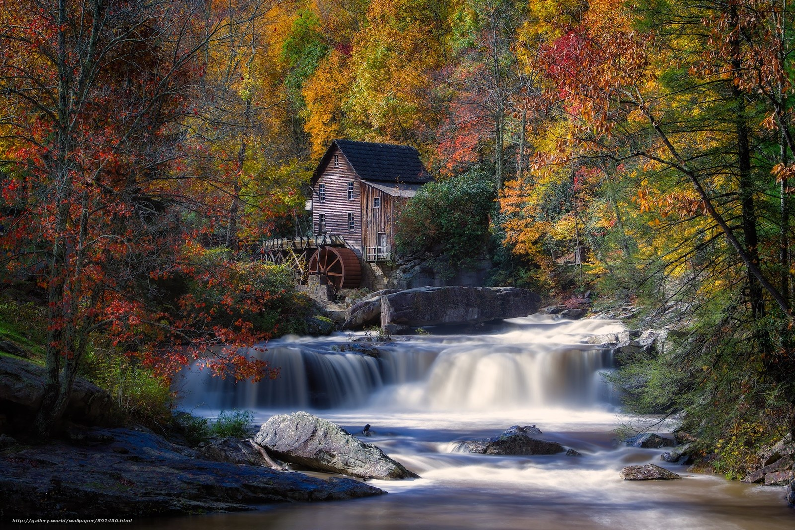Download wallpaper glade creek grist mill babcock state for West fall