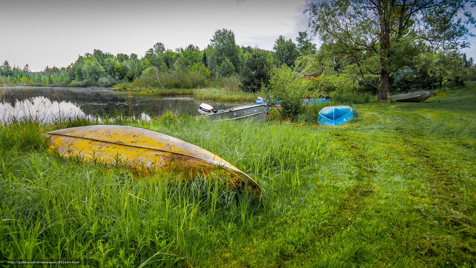 Скачать обои озеро,  берег,  лодки,  пейзаж бесплатно для рабочего стола в разрешении 4912x2763 — картинка №591654