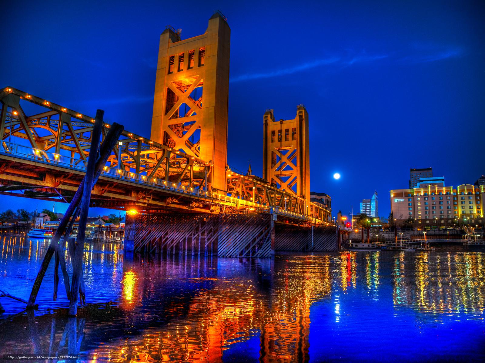 Descargar gratis Puente de la torre de noche,  Sacramento,  California,  Tower Bridge de noche Fondos de escritorio en la resolucin 4637x3469 — imagen №592570