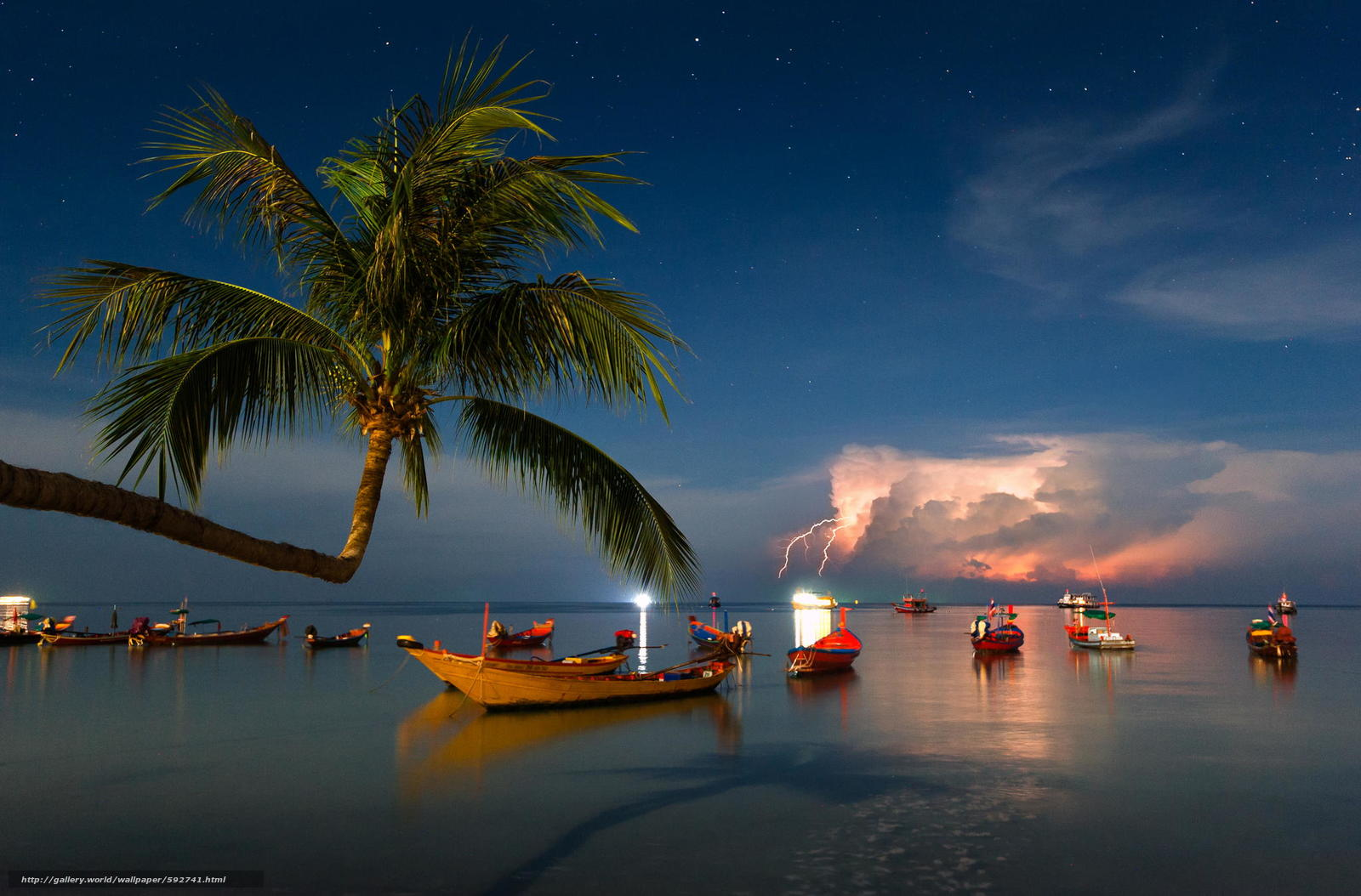 Скачать обои шторм,  лодки,  пальма,  Таиланд бесплатно для рабочего стола в разрешении 2048x1349 — картинка №592741