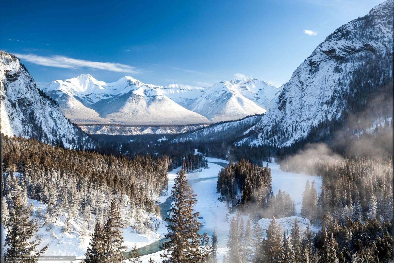 Скачать обои горы,  зима,  река,  Banff бесплатно для рабочего стола в разрешении 2100x1400 — картинка №592836