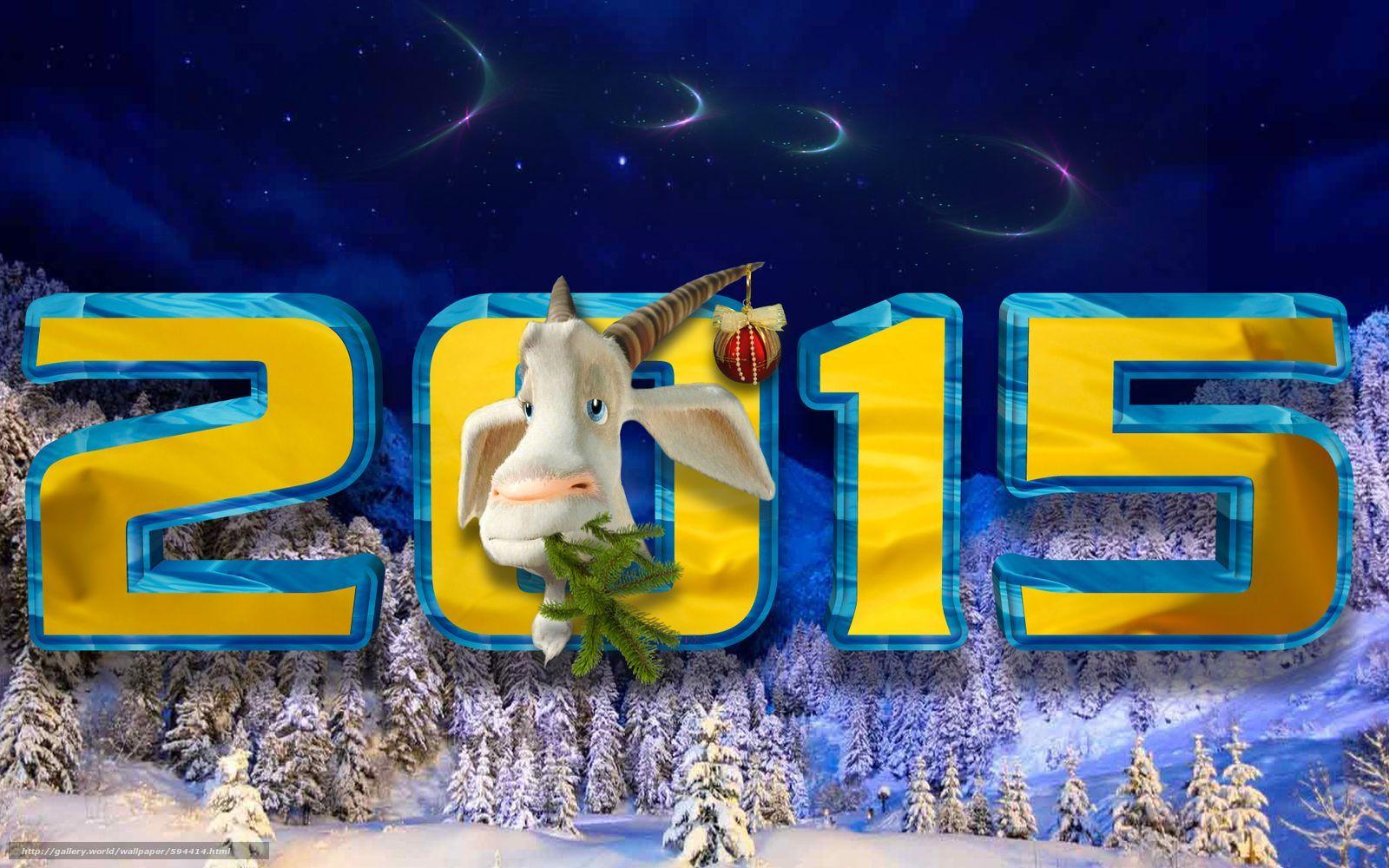 Скачать обои 2015,  коза,  ночь,  снег бесплатно для рабочего стола в разрешении 1600x1000 — картинка №594414