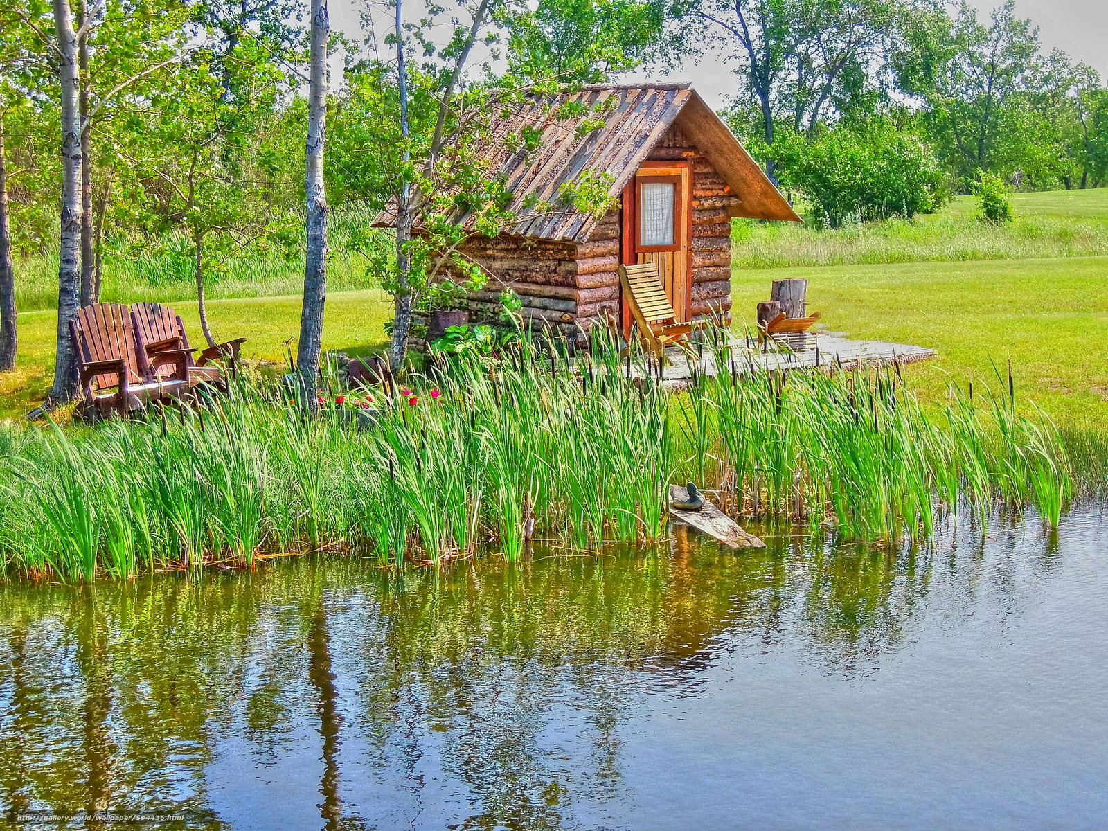 Download wallpaper pond cabin trees landscape free desktop wallpaper in the resolution - Wallpaper 3000 x 4000 ...