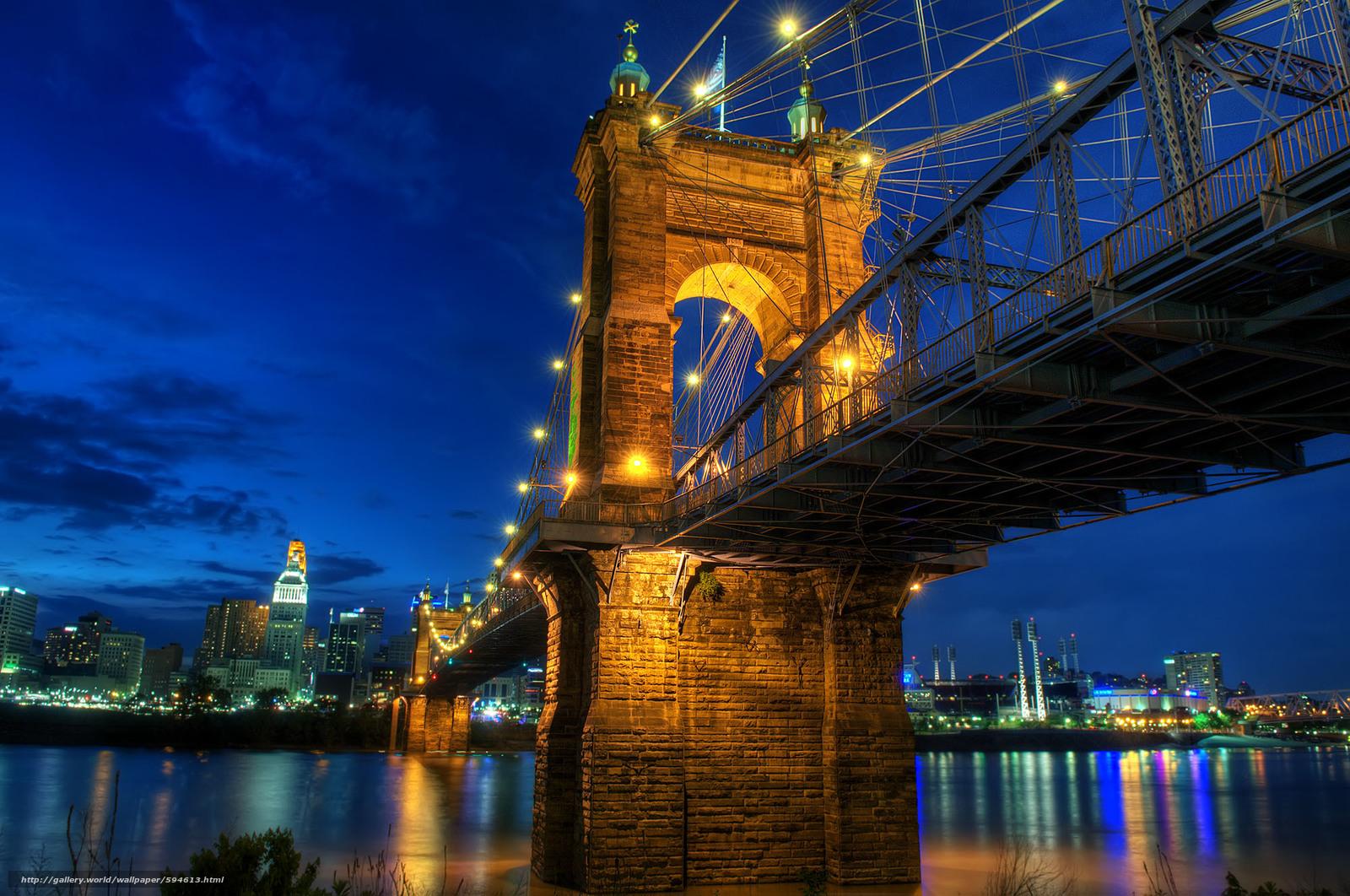 Download wallpaper Robeling Bridge,  Covington,  USA free desktop wallpaper in the resolution 2000x1327 — picture №594613