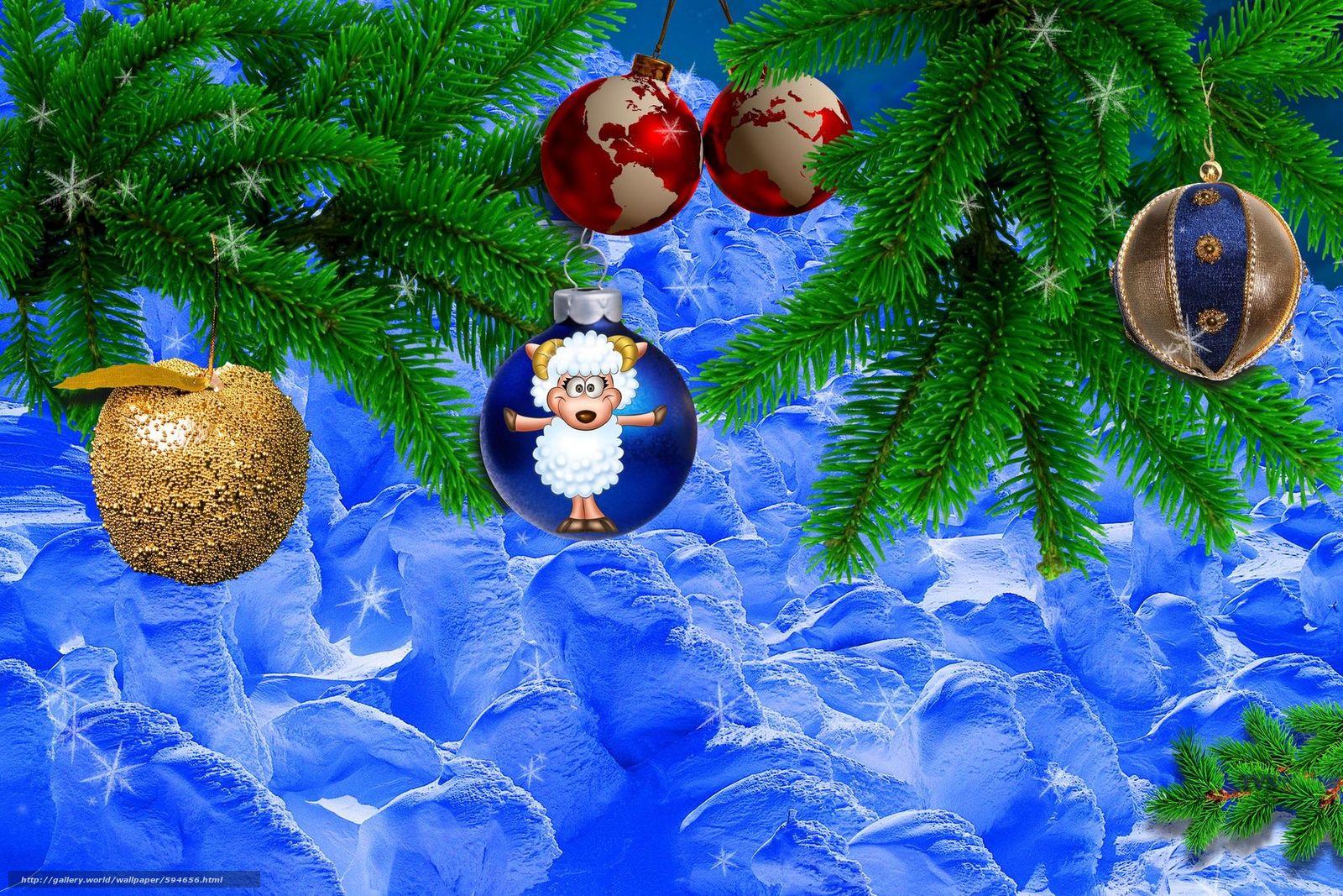 scaricare gli sfondi Anno della Capra,  2015,  nevicata,  Addobbi natalizi Sfondi gratis per la risoluzione del desktop 1920x1280 — immagine №594656