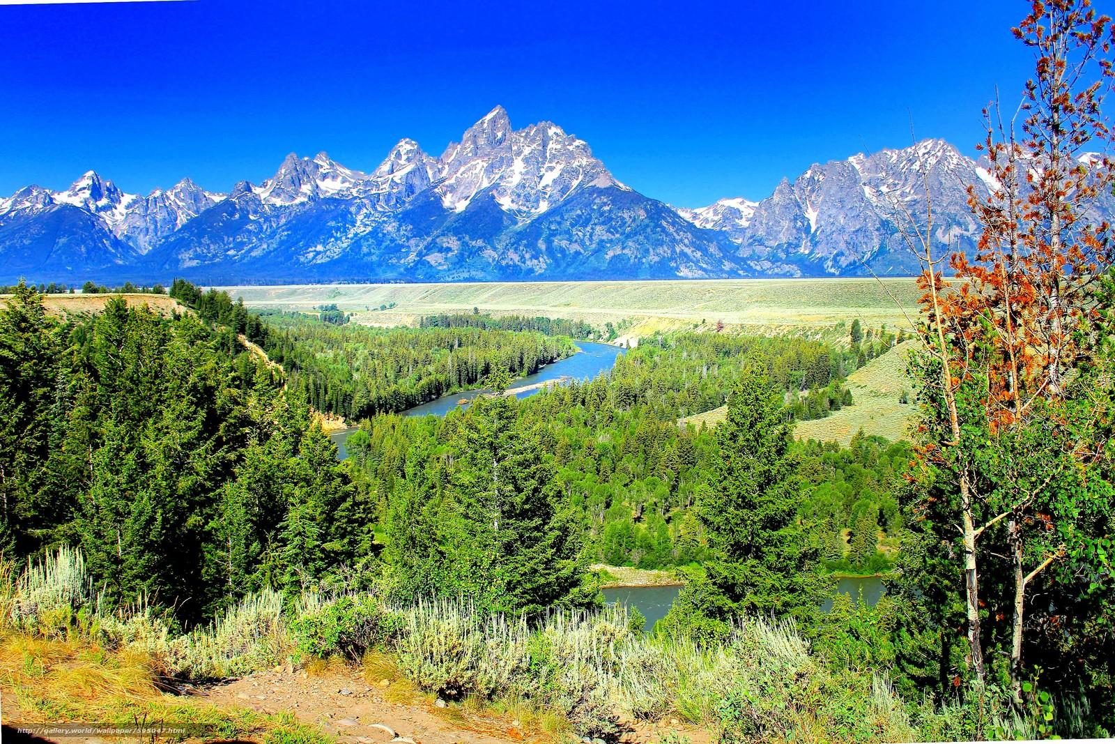 scaricare gli sfondi Yellostone,  Montagne,  fiume,  alberi Sfondi gratis per la risoluzione del desktop 3600x2400 — immagine №595047