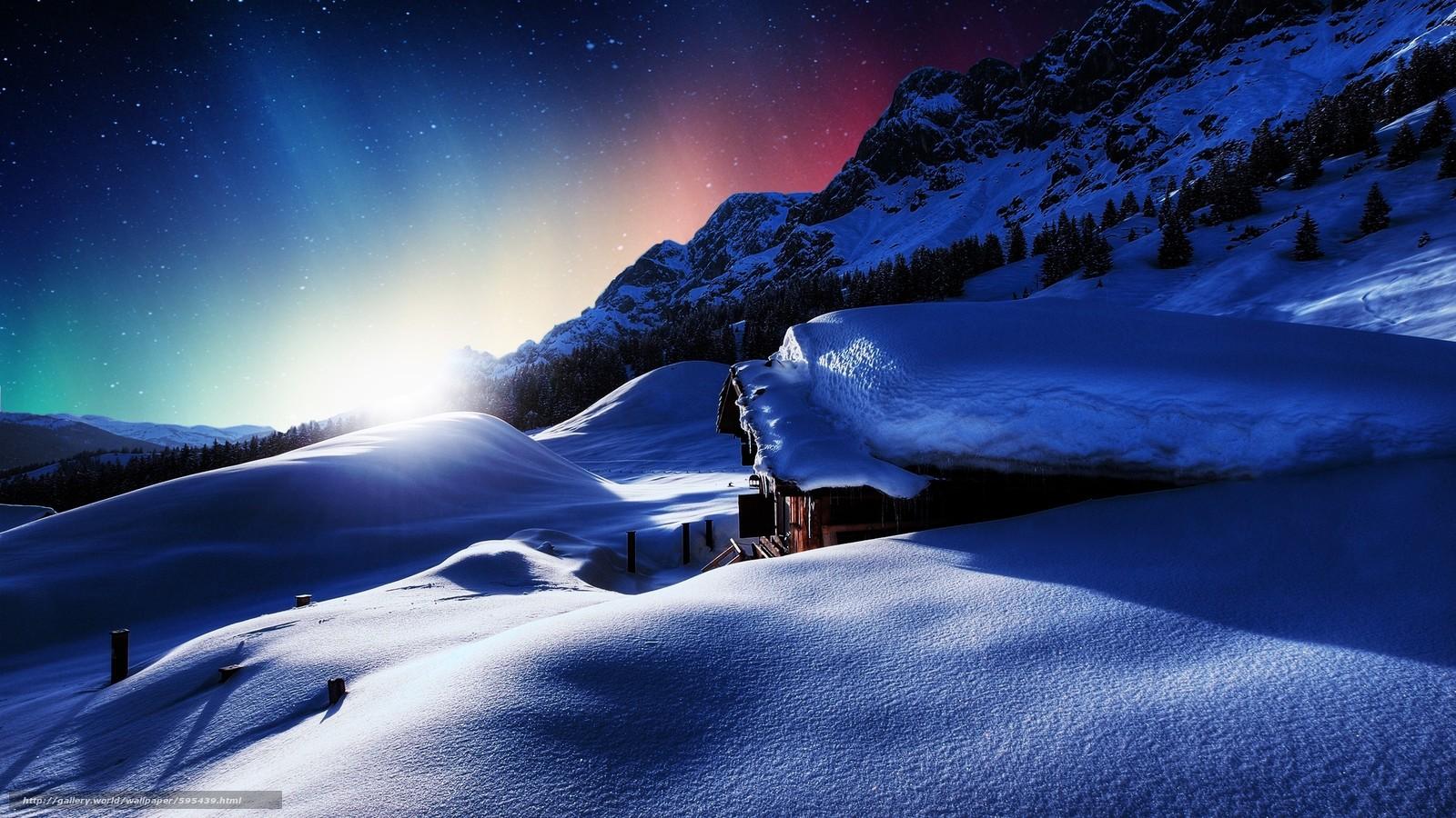 Скачать обои закат,  домик,  горы,  зима бесплатно для рабочего стола в разрешении 2560x1440 — картинка №595439