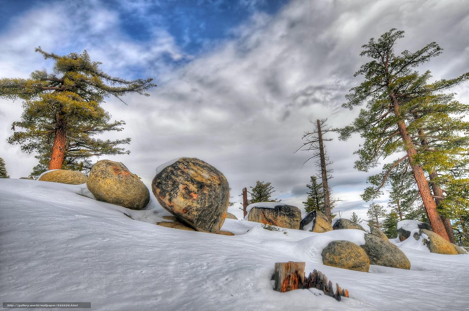 下载壁纸 冬天,  树,  石头,  景观 免费为您的桌面分辨率的壁纸 2144x1424 — 图片 №595659