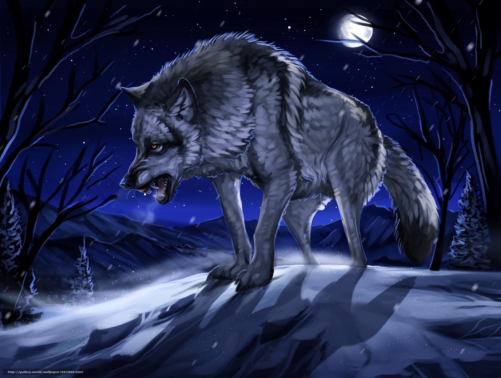 рисованные обои для рабочего стола волки № 138320 без смс