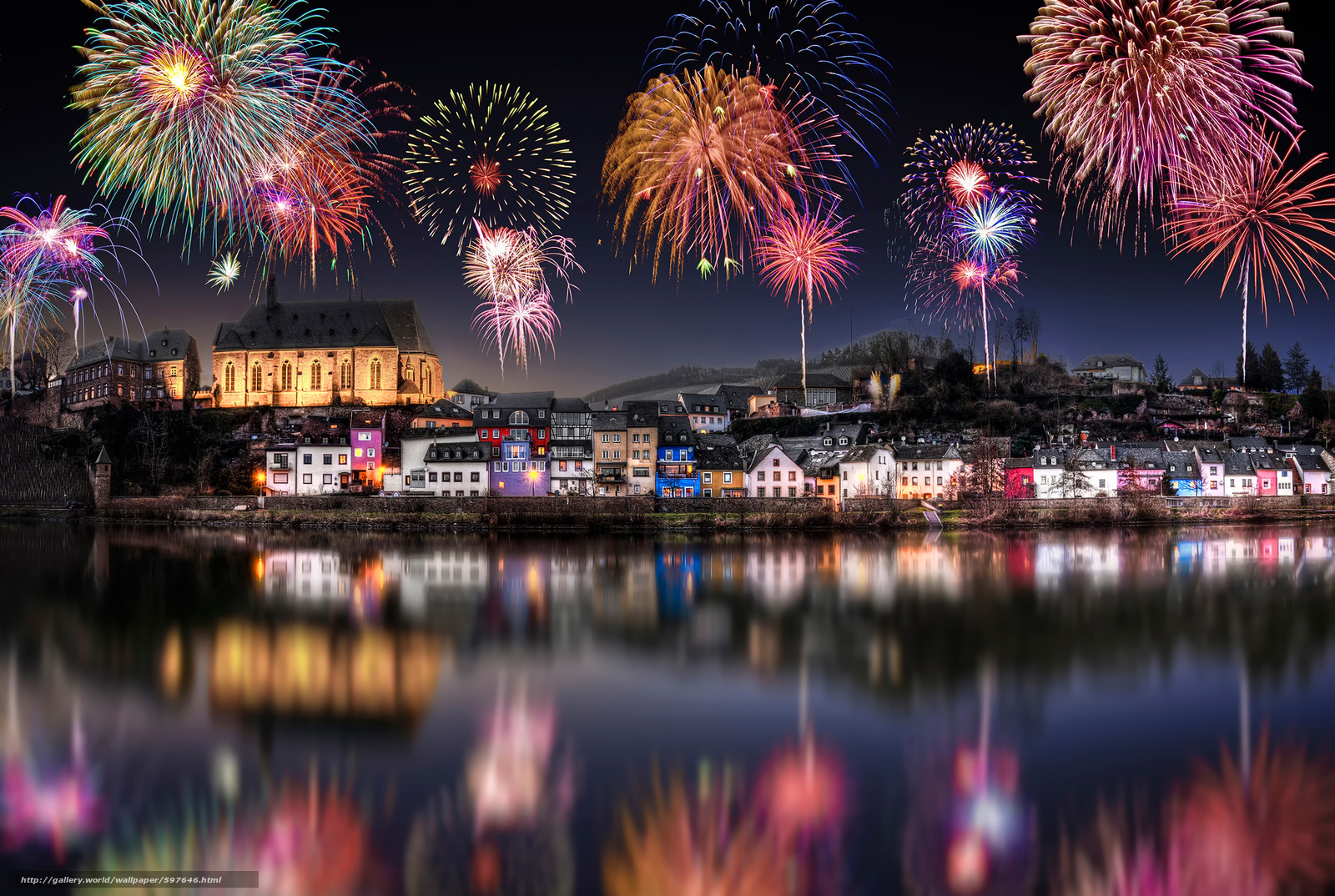 Descargar gratis Saarburg,  Alemania,  Año Nuevo,  fiesta Fondos de escritorio en la resolucin 2048x1375 — imagen №597646
