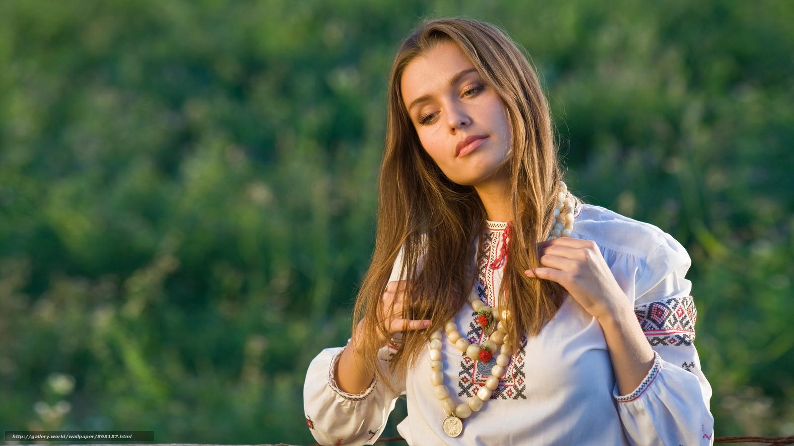 Скачать обои ukrainan girl,  dress,  beautiful бесплатно для рабочего стола в разрешении 2840x1597 — картинка №598157