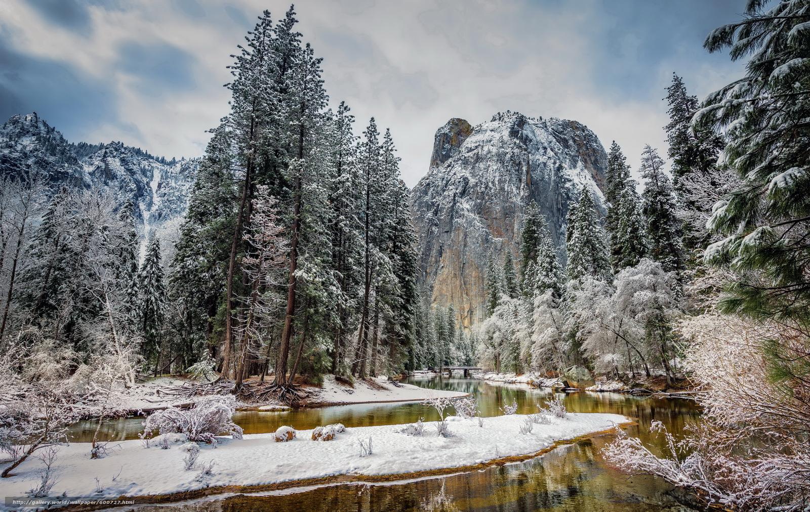 scaricare gli sfondi Yosemite National Park,  fiume,  Montagne,  alberi Sfondi gratis per la risoluzione del desktop 5200x3290 — immagine №600727