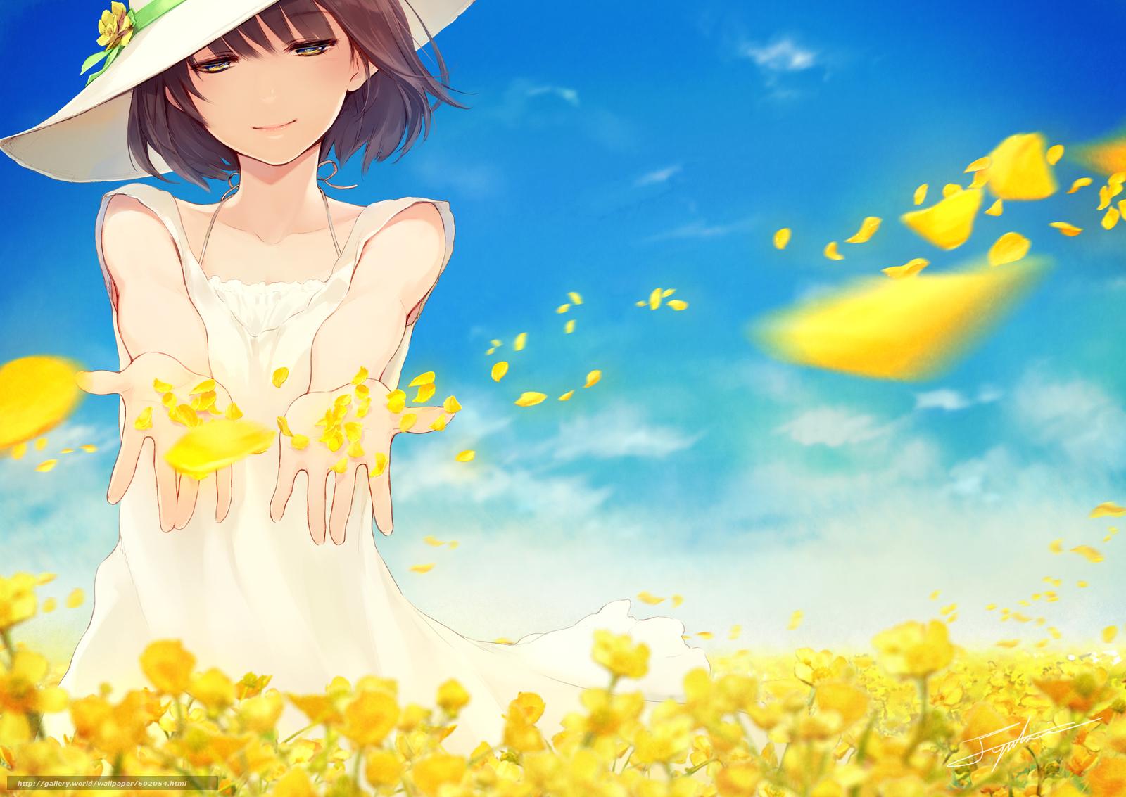 Девушка с цветами аниме