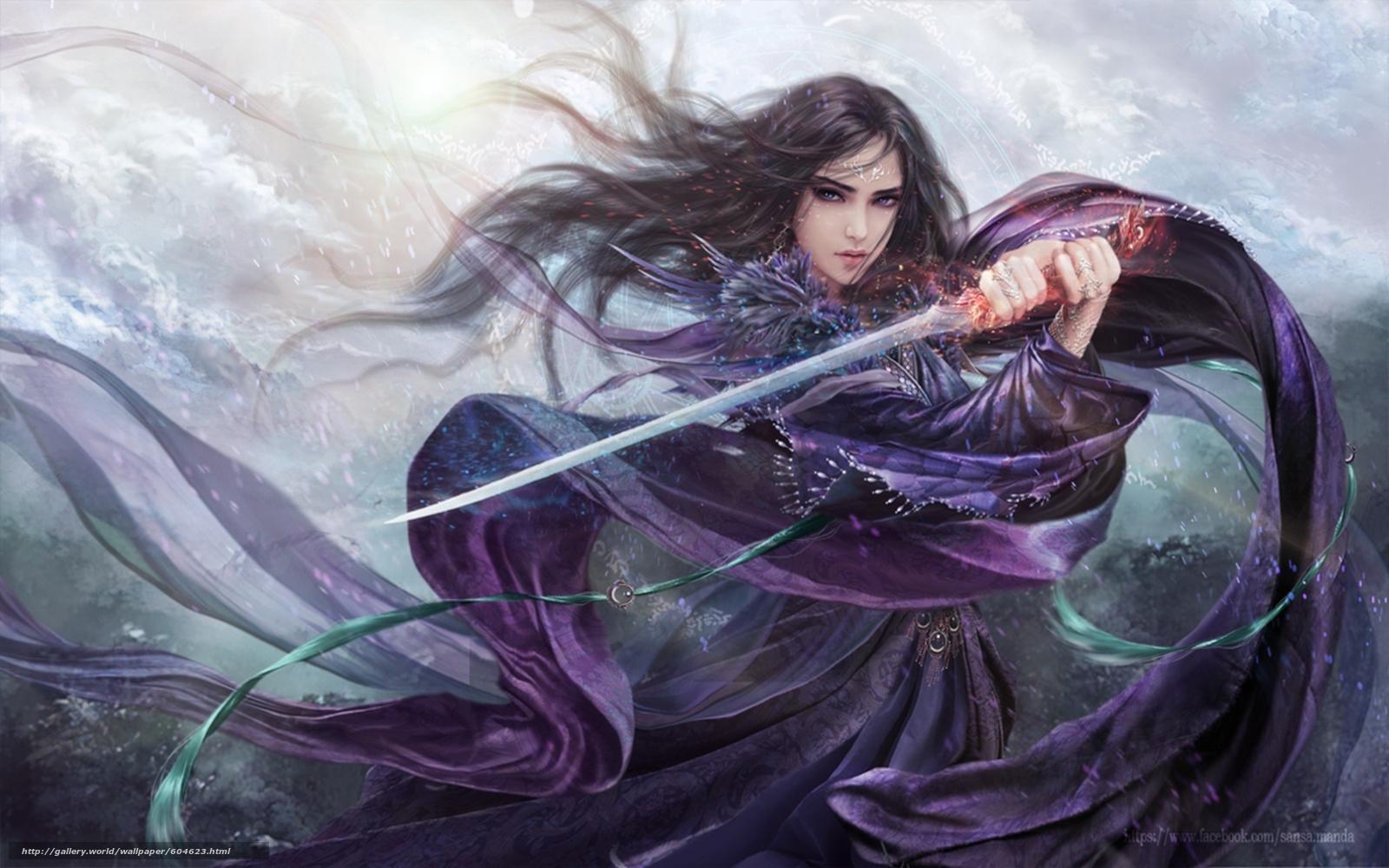 Download wallpaper girl,  blade,  Purple Rose free desktop wallpaper in the resolution 1920x1200 — picture №604623