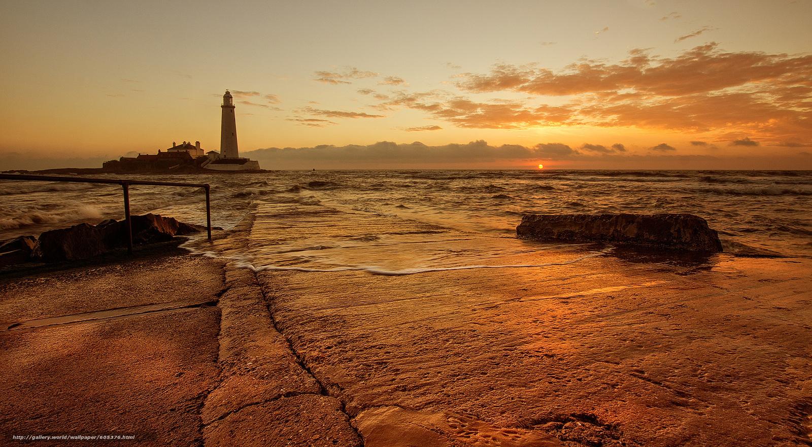 Скачать обои St. Marys Lighthouse,  North East England,  башня,  маяк бесплатно для рабочего стола в разрешении 2048x1128 — картинка №605376