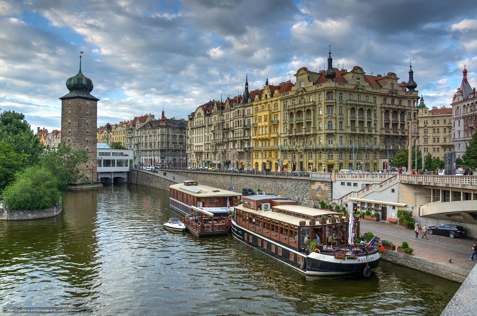 下载壁纸 伏尔塔瓦河的银行,  布拉格,  桥,  Jiraskuv 免费为您的桌面分辨率的壁纸 4931x3267 — 图片 №605397