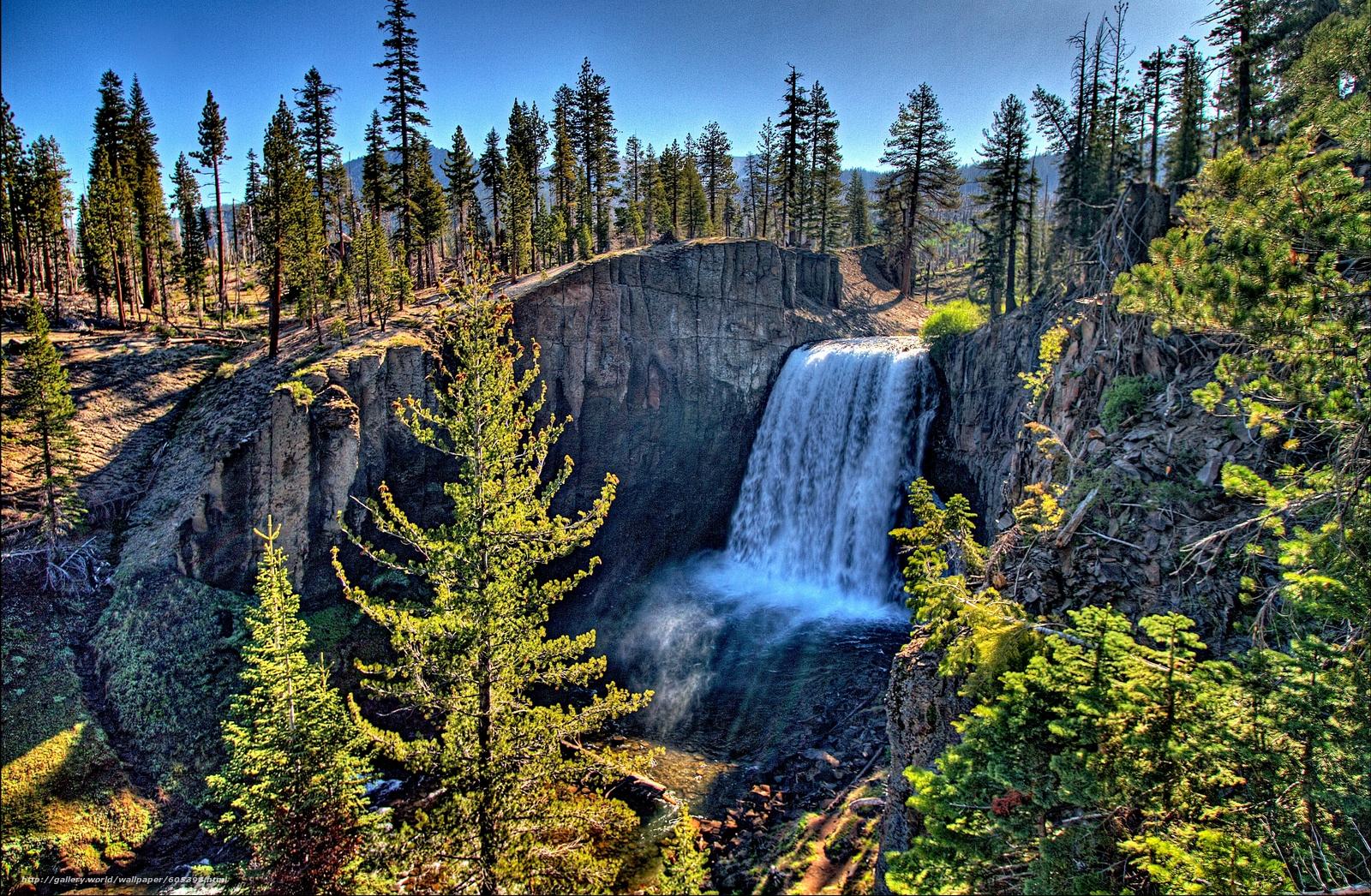 下载壁纸 瀑布,  岩石,  树,  景观 免费为您的桌面分辨率的壁纸 3372x2205 — 图片 №605398
