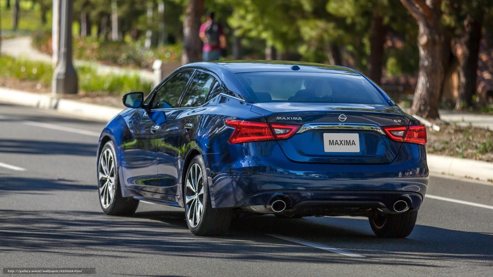 Download Hintergrund blau,  2016,  Nissan Maxima,  Rückansicht Freie desktop Tapeten in der Auflosung 1920x1080 — bild №605968