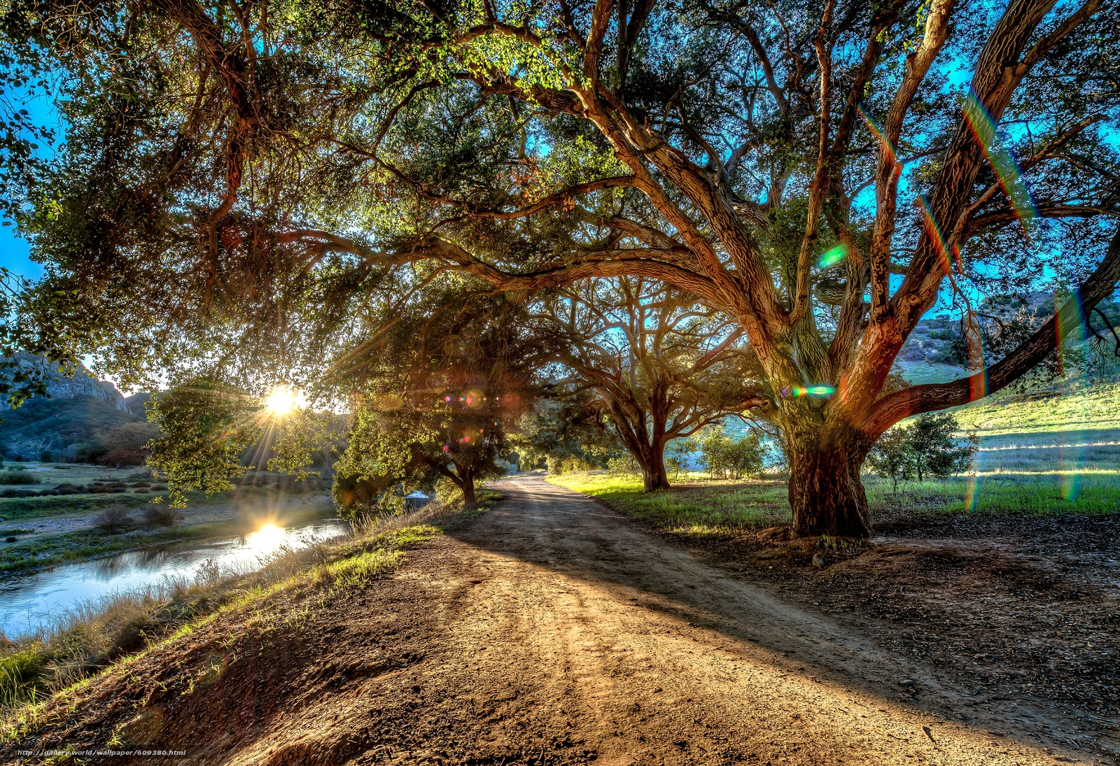 scaricare gli sfondi stradale,  alberi,  piccolo fiume,  paesaggio Sfondi gratis per la risoluzione del desktop 6971x4770 — immagine №609380