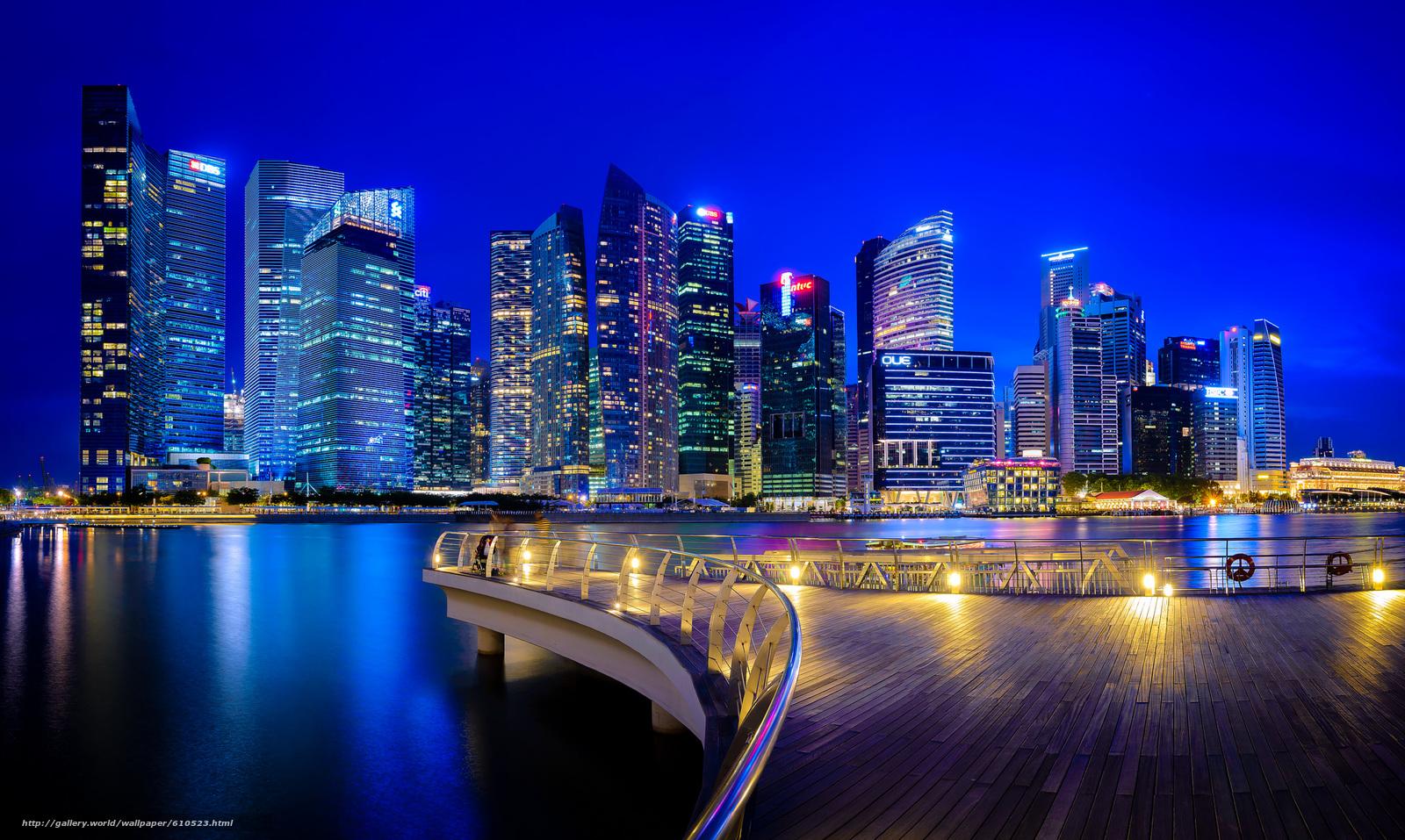 壁紙をダウンロード シンガポール,  シンガポール,  街のナイトライフ,  建物 デスクトップの解像度のための無料壁紙 2048x1225 — 絵 №610523