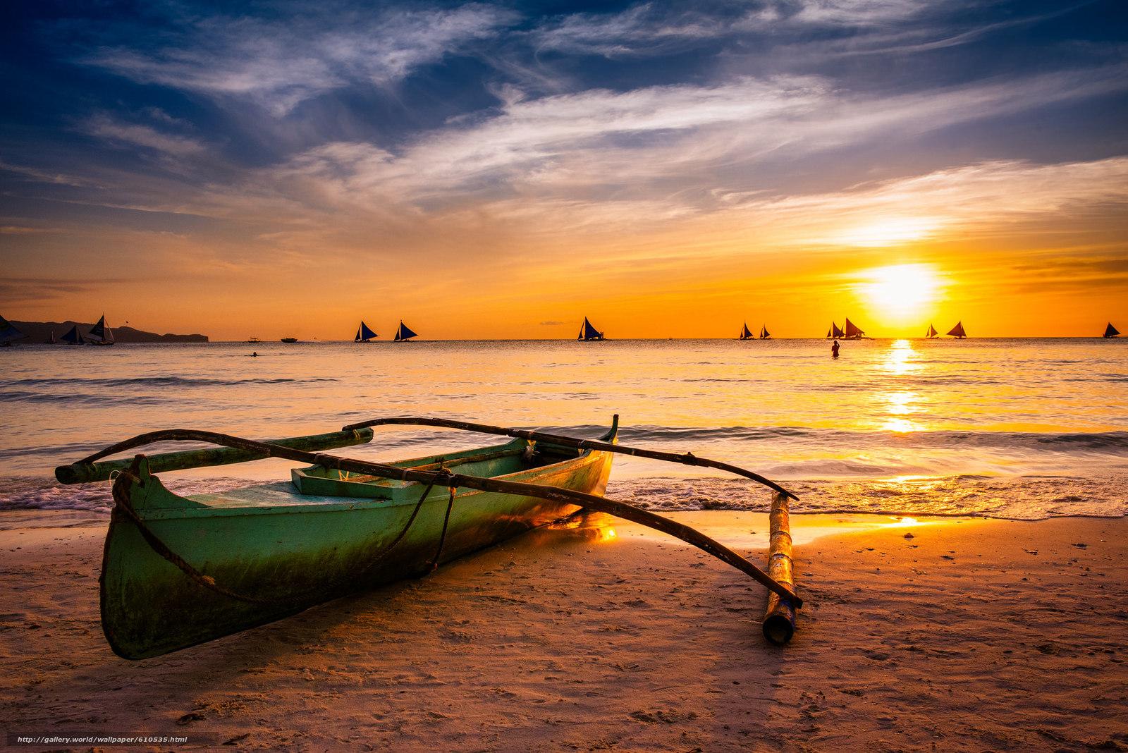 Скачать обои Boracay,  Philippines,  paraw,  Боракай бесплатно для рабочего стола в разрешении 2048x1367 — картинка №610535