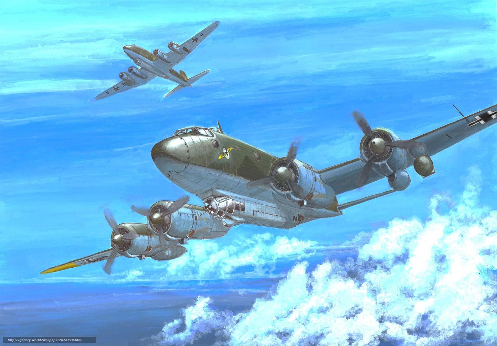 Download wallpaper Art,  plane,  German,  Focke-Wulf Fw 200C-3 Condor free desktop wallpaper in the resolution 2500x1742 — picture №610549
