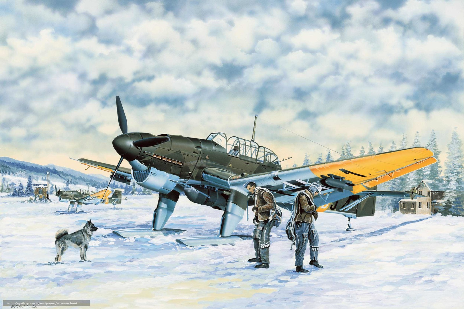 Download wallpaper Art,  plane,  Luftwaffe,  winter free desktop wallpaper in the resolution 2500x1667 — picture №610554