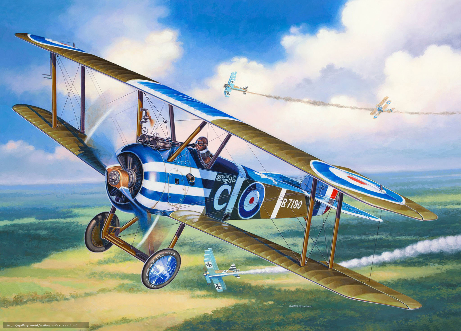 Download wallpaper Art,  plane,  sky,  Sopwith Camel free desktop wallpaper in the resolution 2048x1472 — picture №610564