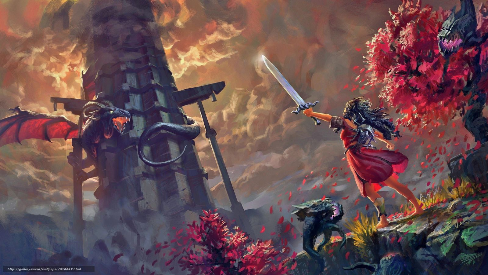 Download wallpaper Toren,  taking a climb,  girl,  Sword free desktop wallpaper in the resolution 3985x2241 — picture №610647