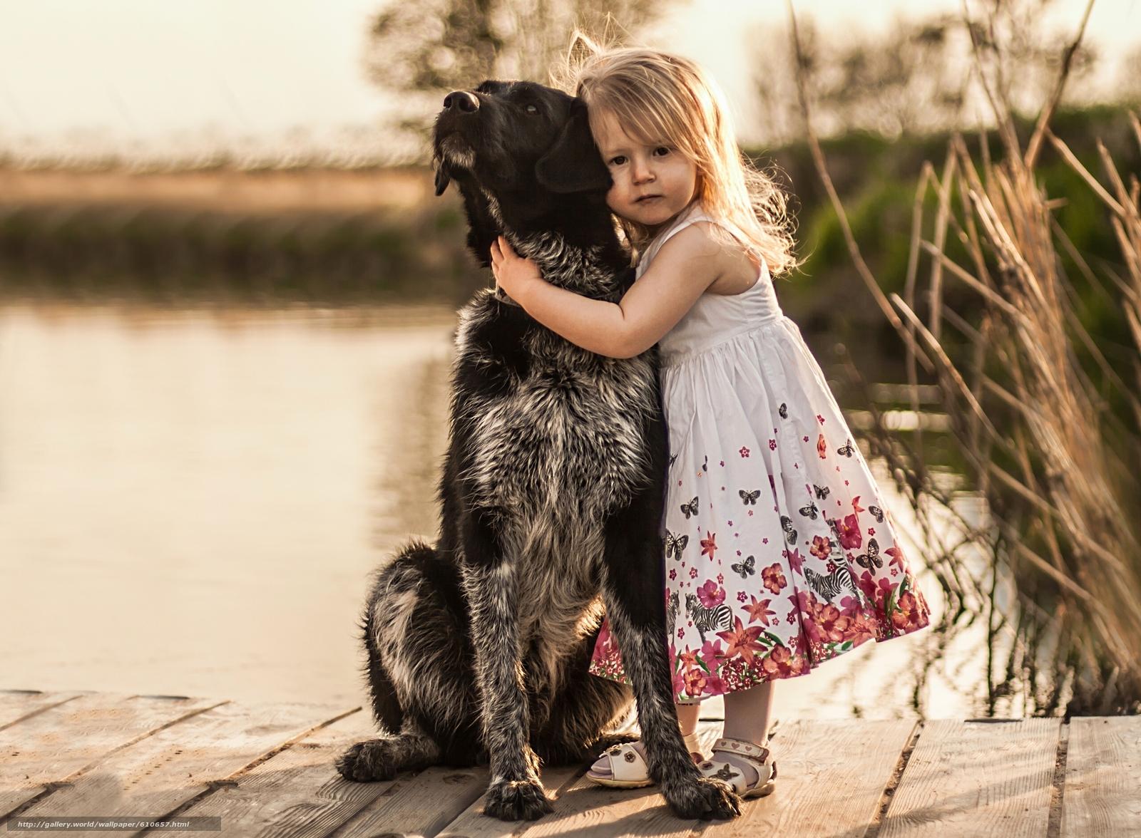 Скачать обои девочка,  собака,  пёс,  друзья бесплатно для рабочего стола в разрешении 2560x1882 — картинка №610657