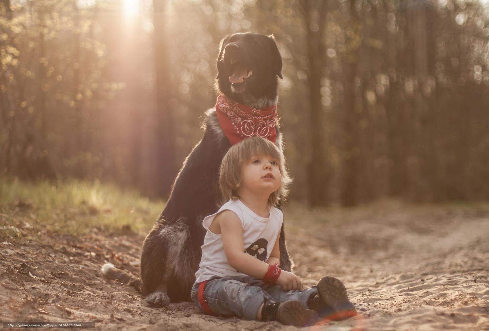 Скачать обои мальчик,  собака,  пёс,  друзья бесплатно для рабочего стола в разрешении 2560x1736 — картинка №610660