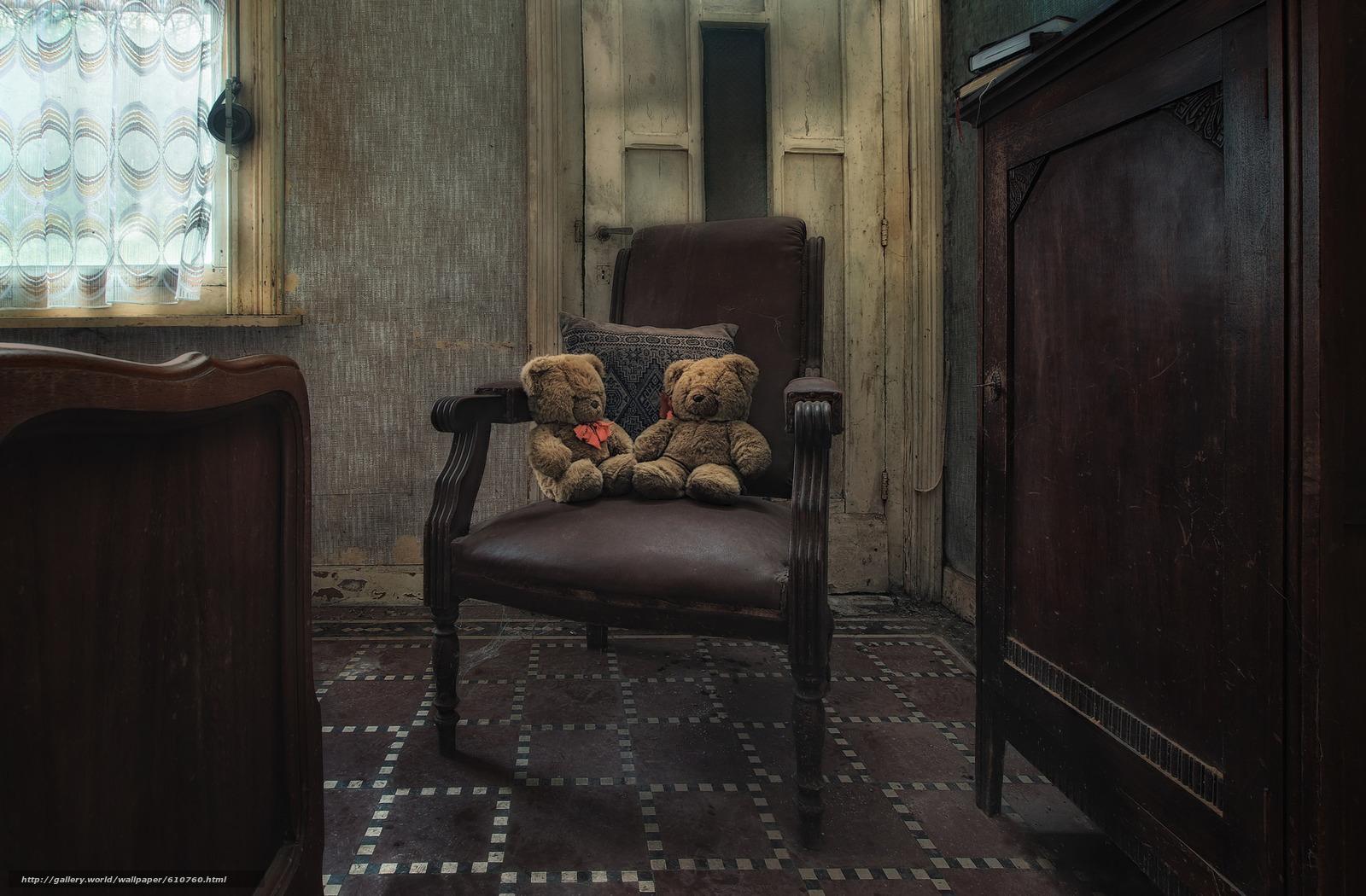 Скачать обои комната,  кресло,  плюшевые мишки,  игрушки бесплатно для рабочего стола в разрешении 2048x1344 — картинка №610760