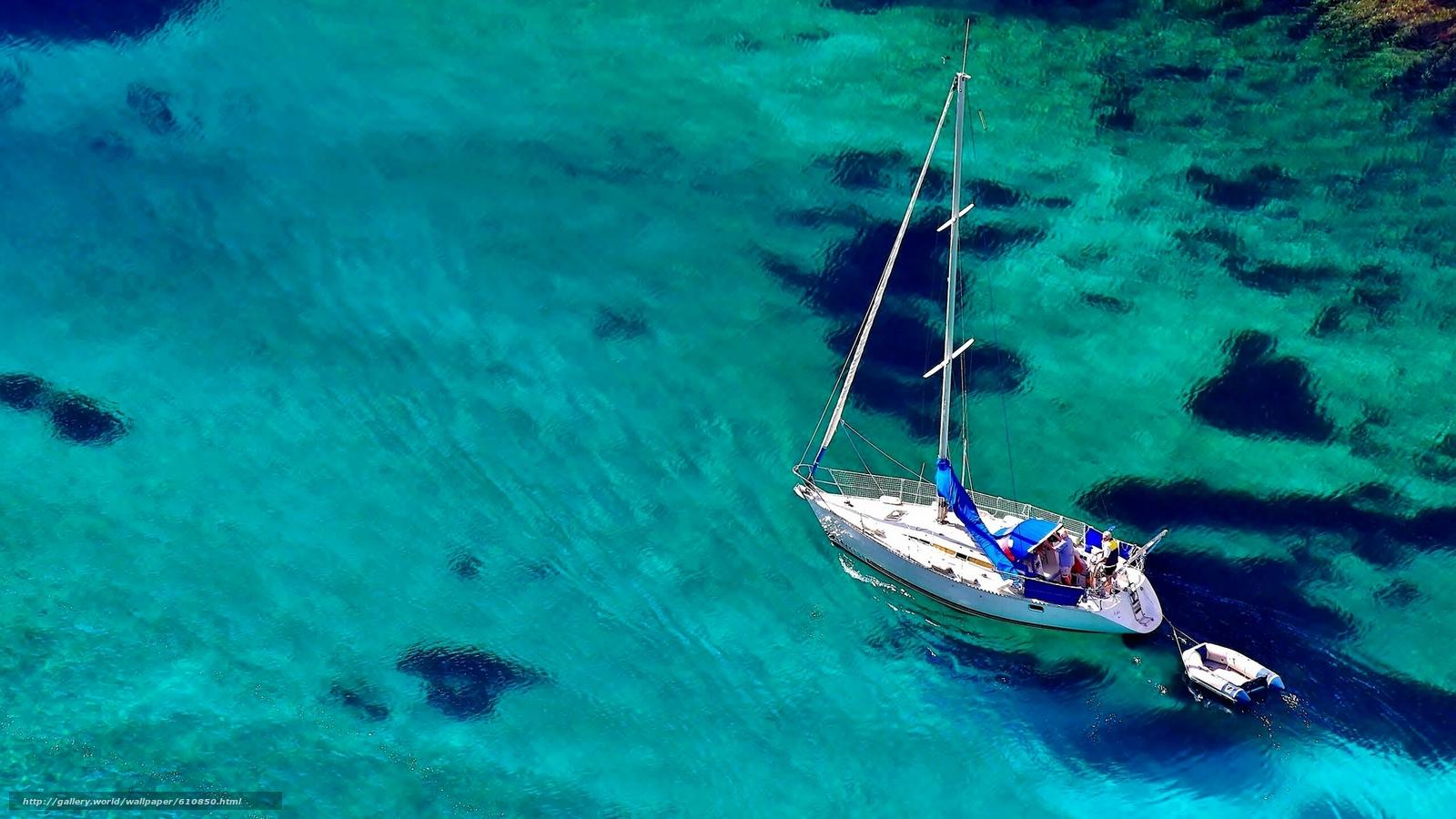 Download wallpaper yacht,  boat,  sea,  water free desktop wallpaper in the resolution 2048x1152 — picture №610850