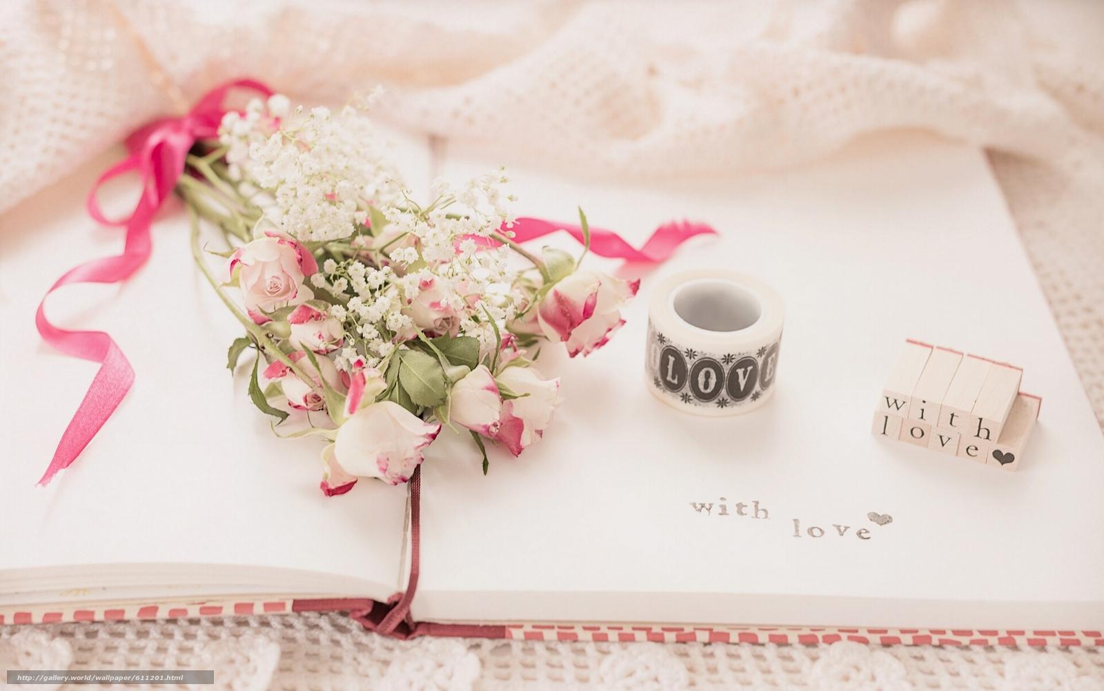 Скачать обои цветы,  букет,  розы,  тетрадь бесплатно для рабочего стола в разрешении 1920x1201 — картинка №611201