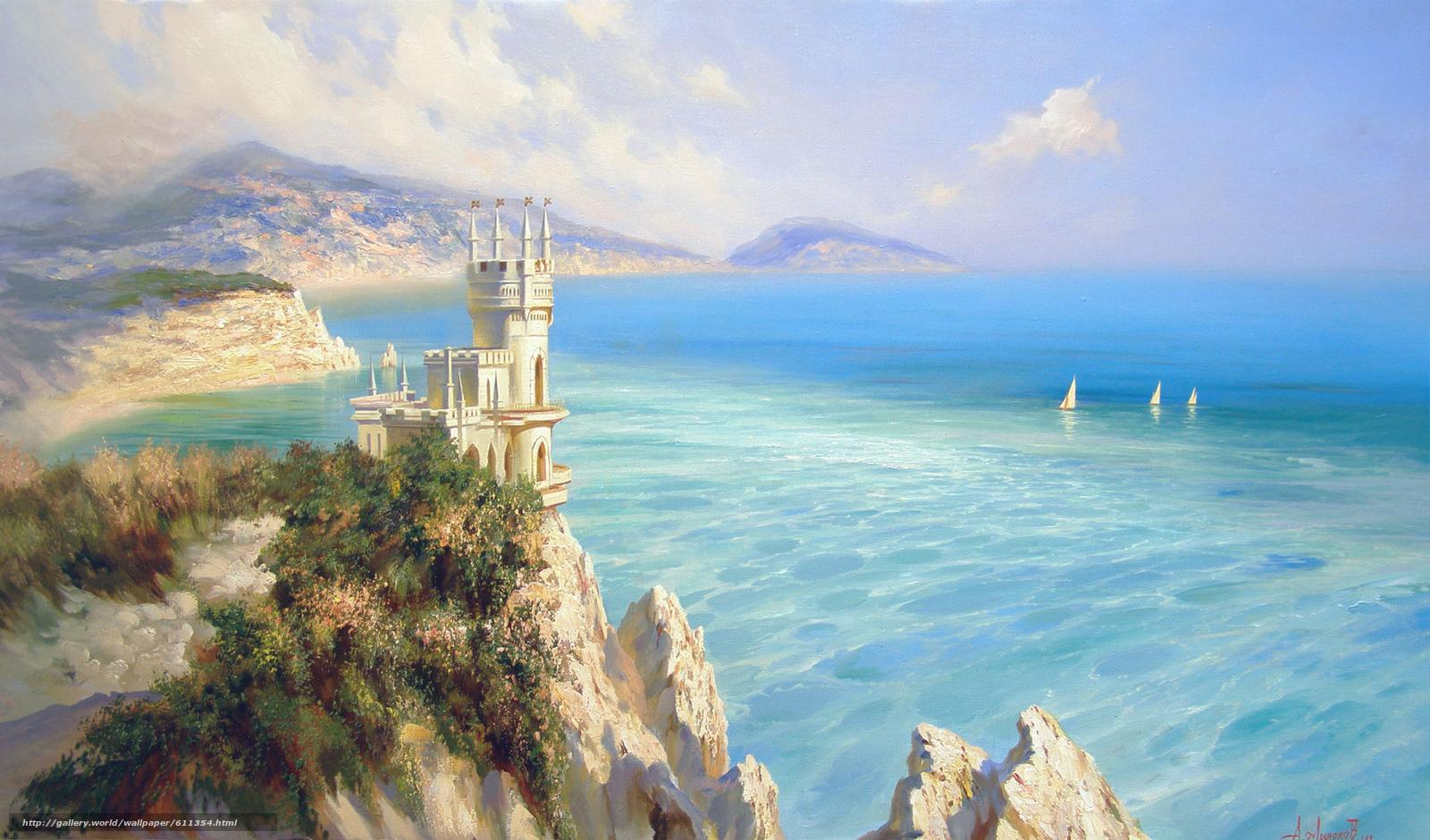 scaricare gli sfondi Alexander Milyukov,  Nido di rondine,  castello,  mare Sfondi gratis per la risoluzione del desktop 1920x1128 — immagine №611354