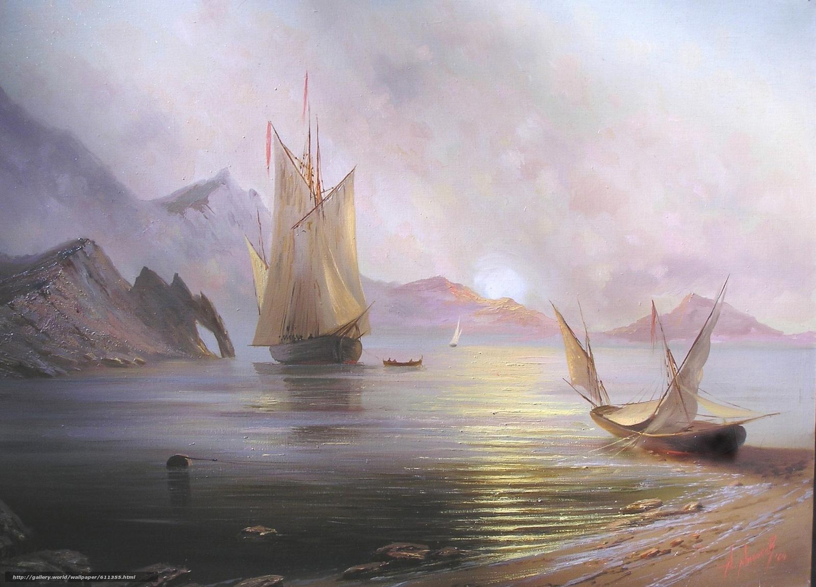 Скачать обои Милюков,  Александр,  Рассвет на море,  пейзаж бесплатно для рабочего стола в разрешении 2288x1644 — картинка №611355