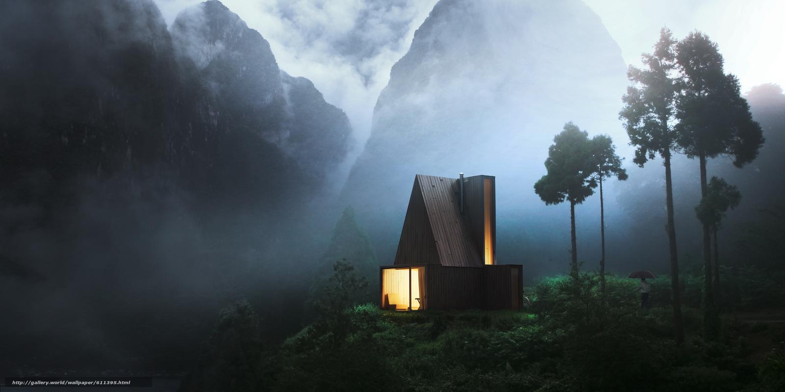 Скачать обои вечер,  горы,  туман,  дымка бесплатно для рабочего стола в разрешении 2500x1248 — картинка №611395