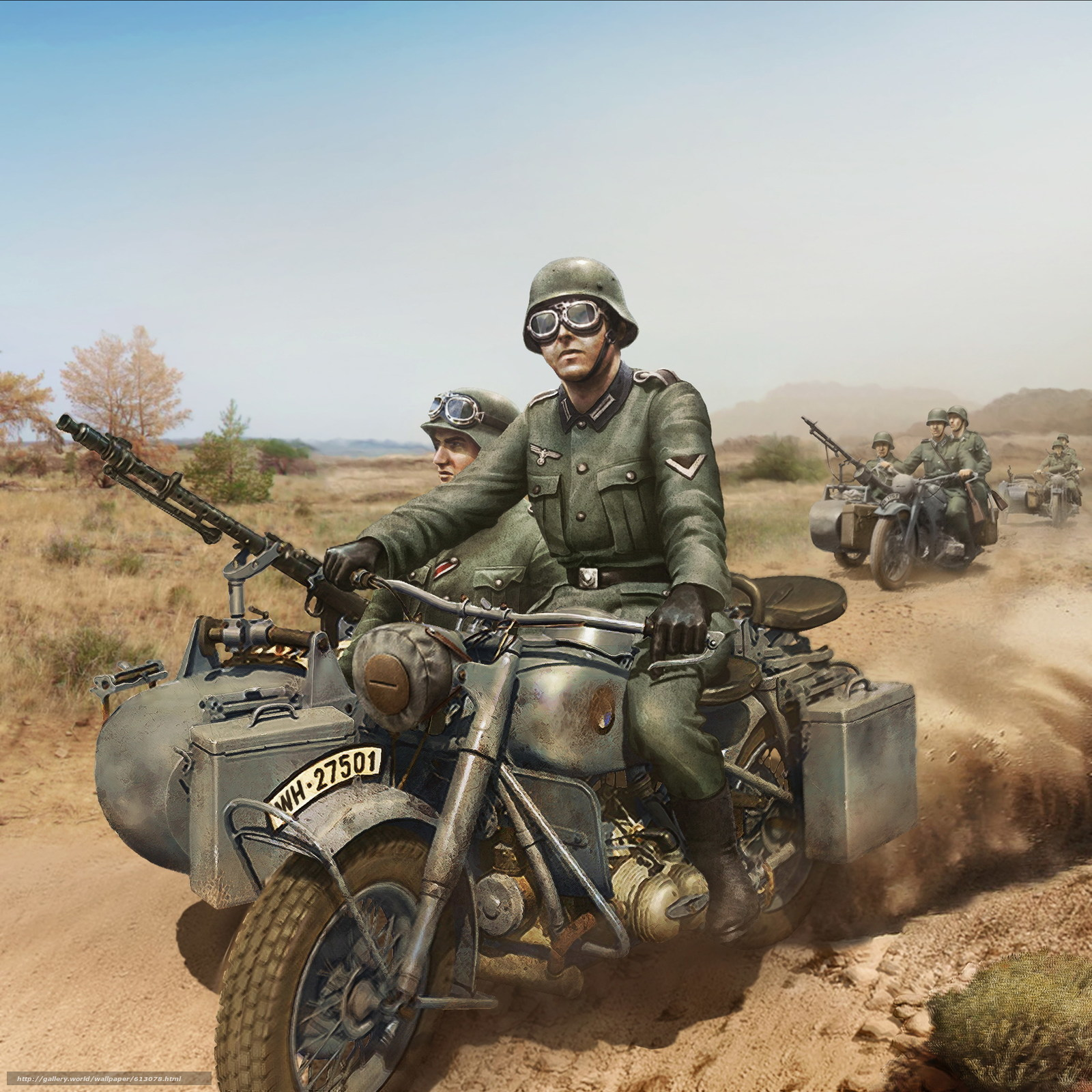 Download wallpaper soldiers,  motorcyclists,  World of Tanks Generals free desktop wallpaper in the resolution 2285x2285 — picture №613078