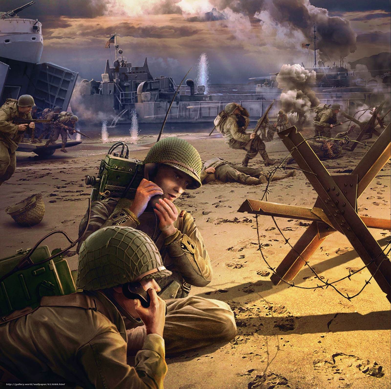 Download wallpaper soldiers,  fight,  battle,  landing free desktop wallpaper in the resolution 2288x2277 — picture №613088