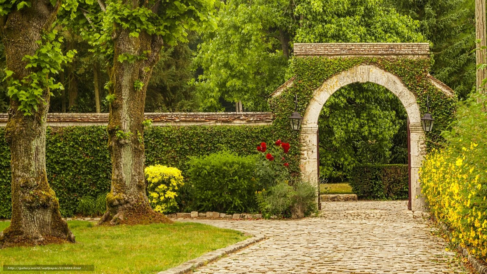 Descargar gratis parque rboles arco flores fondos de for Parques con jardines