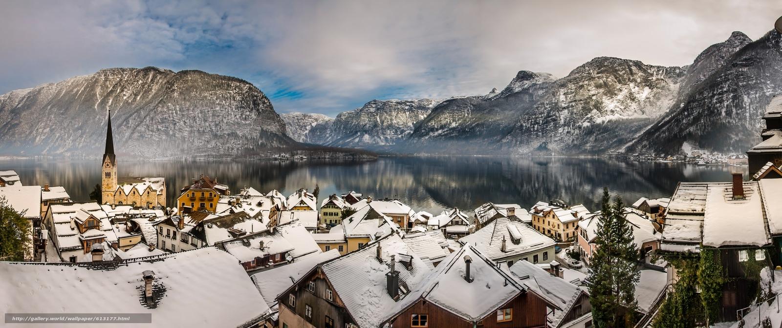 Download wallpaper Hallstatt,  Austria,  Lake Hallstatt,  Alps free desktop wallpaper in the resolution 5000x2099 — picture №613177