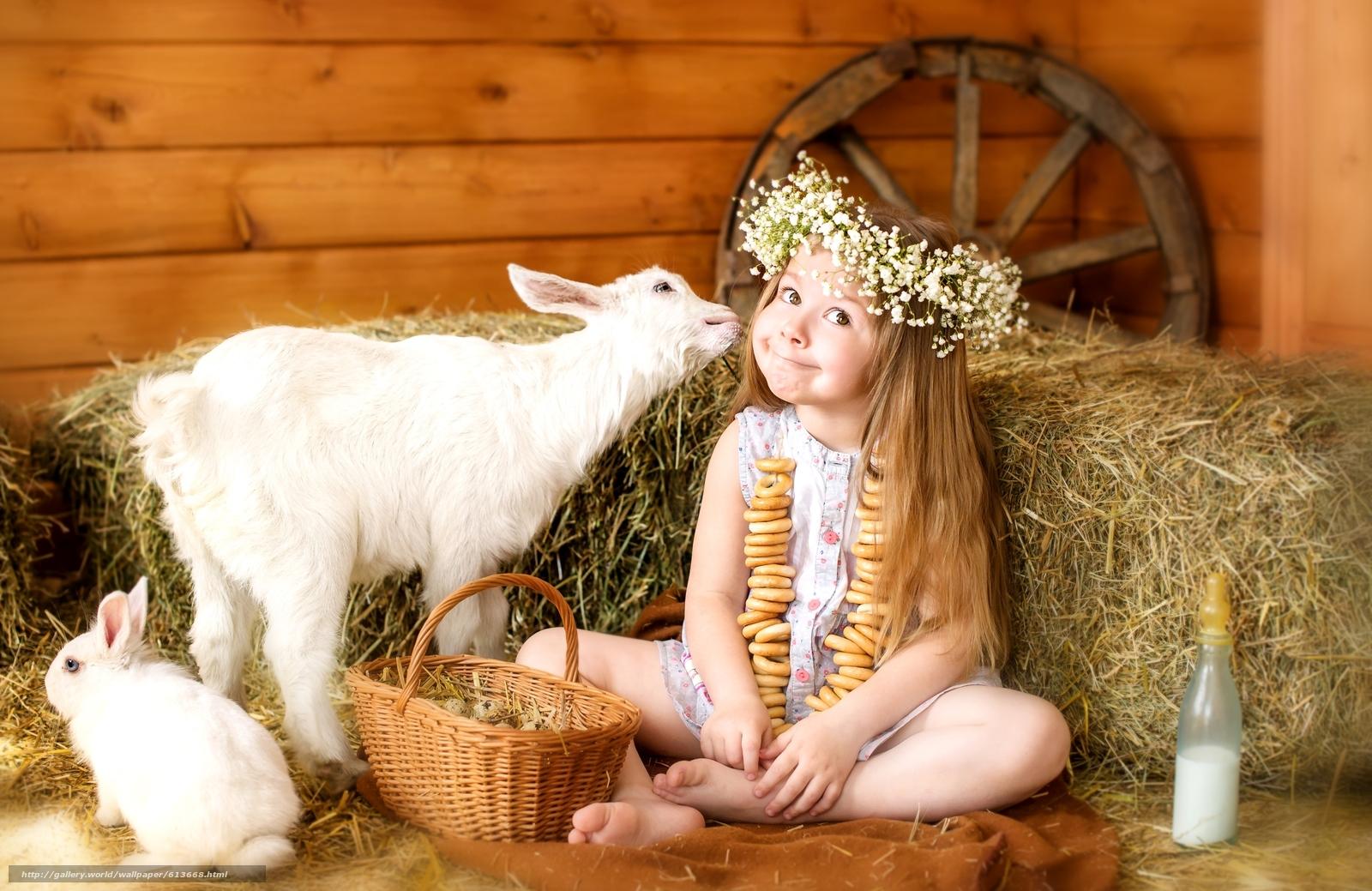 Скачать обои девочка,  животные,  коза,  козлёнок бесплатно для рабочего стола в разрешении 2400x1558 — картинка №613668